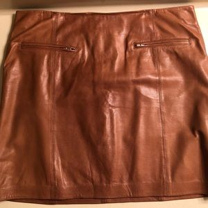 100% GENUINE BROWN LEATHER SKIRT
